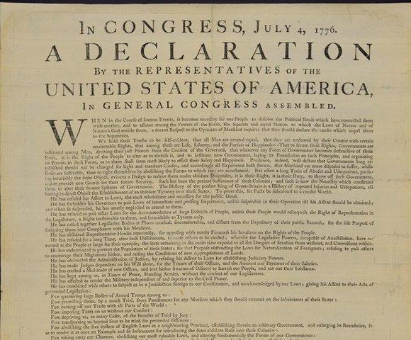 Jefferson promulga la declaración de la independencia de EE. UU.