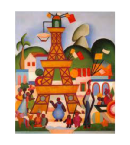 (Carnival in Madureira) Painting from the Pau-Brasil phase of Tarsila
