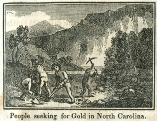 First gold nugget is found at Reed Gold Mine in Cabarrus County