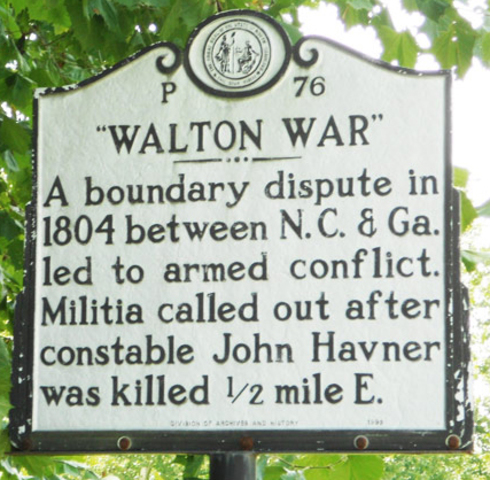 """The """"Walton War"""" is fought between residents of Georgia and North Carolina."""