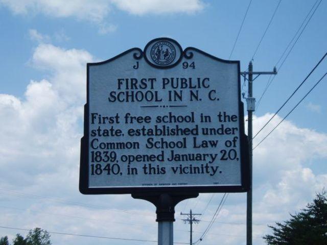 The first public schools open in North Carolina