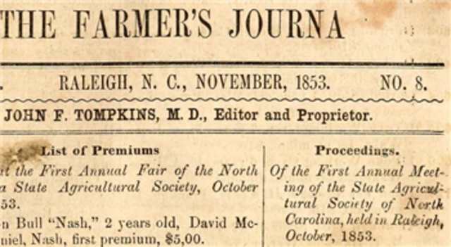The first North Carolina State Fair is held.