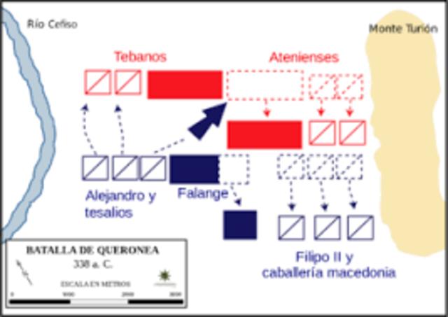 FILIPO II DERROTA  A LA LIGA HELÉNICA EN LA BATALLA DE QUERONEA Y SE CONVIERTE EN EL GOBERNANTE DE GRECIA