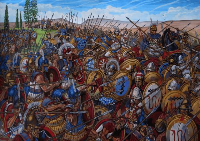 Filipo II derrota a la Liga Helénica en la batalla de la Queronea y se convierte en el gobernante de Grecia