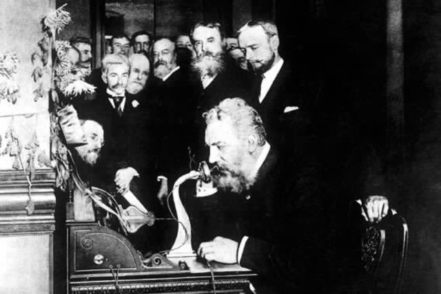 Alexander Graham Bell demonstrated the first telephone.