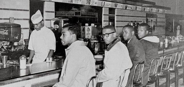 The first ever sit-in at Greensboro, North Carolina, to protest segregation