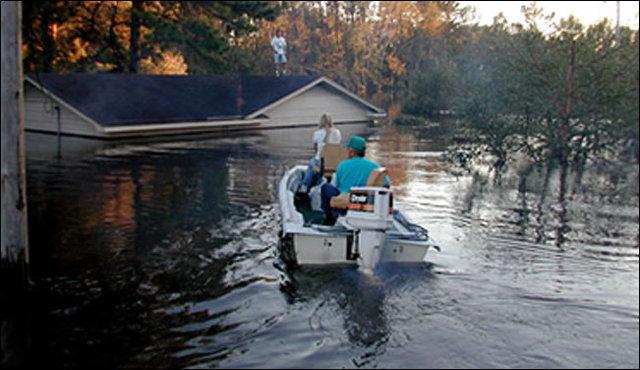 Hurricane Floyd slams into North Carolina, bringing with it flood waters
