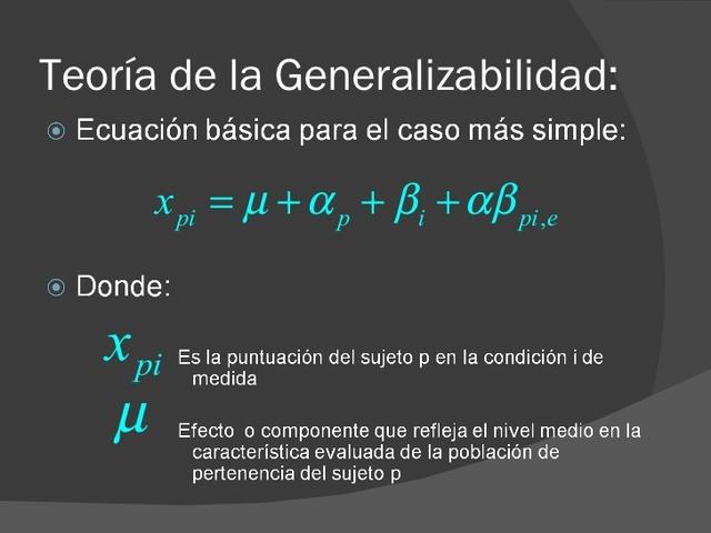 Teoría de la Generalizabilidad