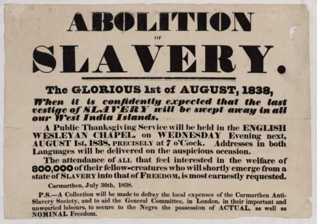 The Commencement of the Slavery Abolition Act of 1833