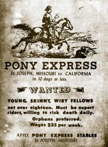 US: Pony Express begins