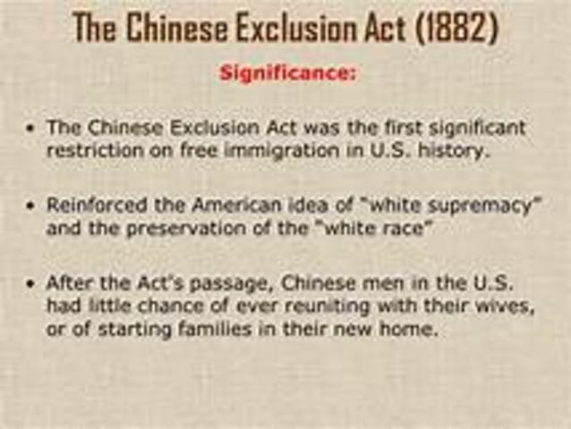 US: Chinese Exclusion Act and European Restriction Act