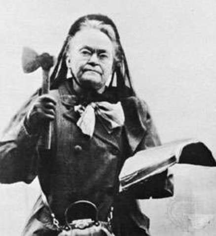 Carrie Nation Attacks Bar
