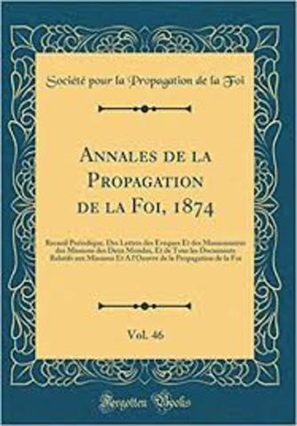 Creación de los Annales de la propagation de la foi