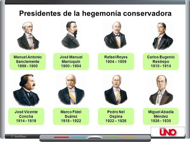 presidentes de la hegemonía conservadora