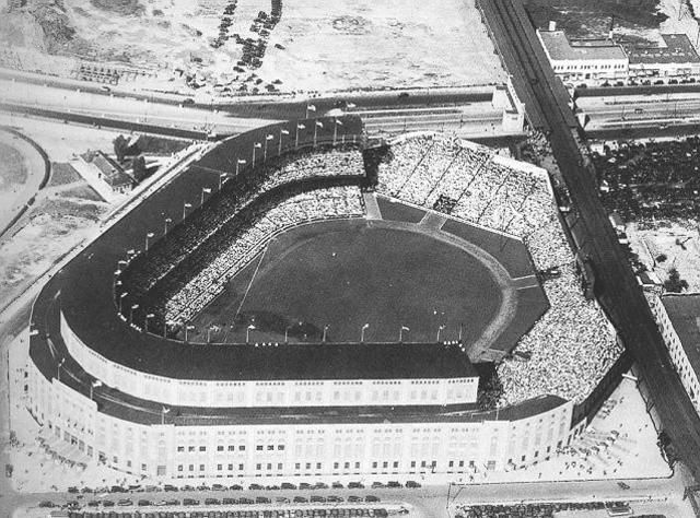 First game in the newly built yankee stadium is played