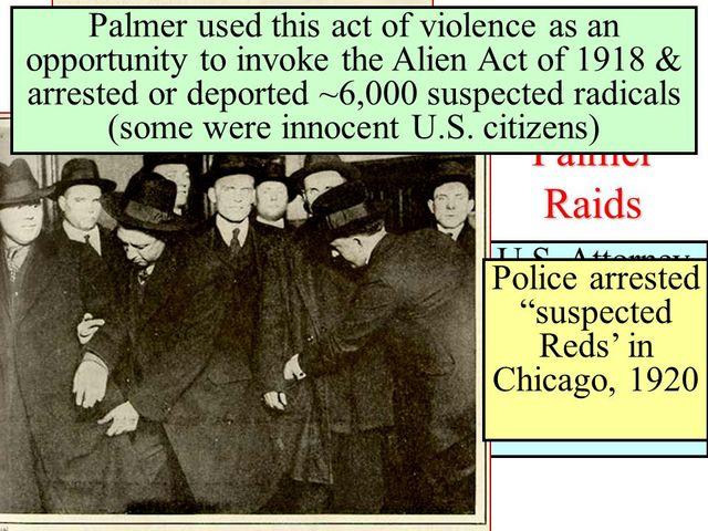 The palmer raids arrest and deport over 6000 suspected radicals