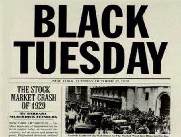 Stock market crashes on 'Black Tuesday'