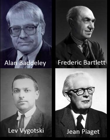 Alan Baddeley, Frederic Bartlett, Lev Vygotski, Jean Piaget