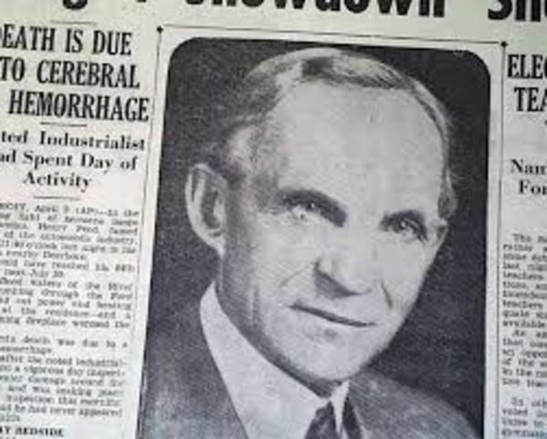 Henry Ford dies