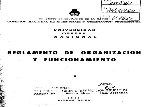 Reglamentación del funcionamiento de la U.O.N