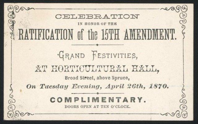 15th Amendment Ratified