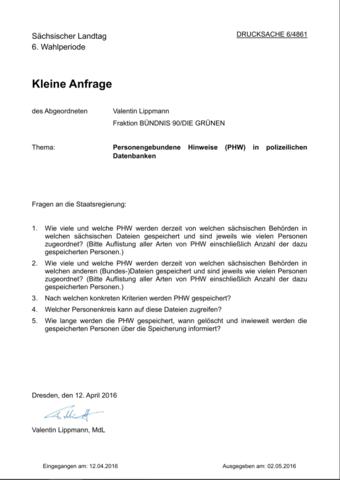 Parlamentarische Anfragen im Landtag Sachsen