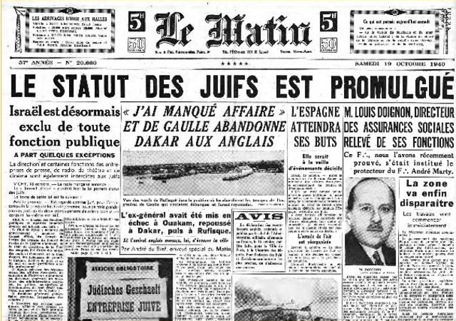 Promulgation du statut des Juifs en France