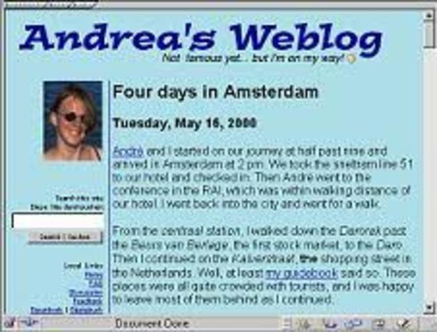 Se comienza a emplear el término Weblog