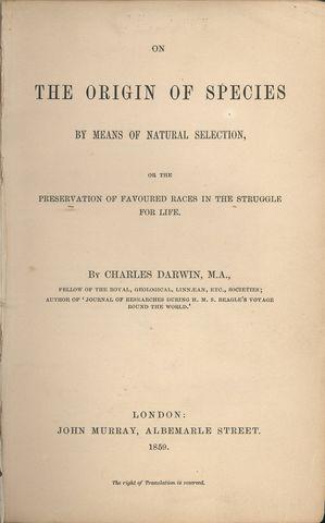 El origen de las especies por medio de la selección natural.
