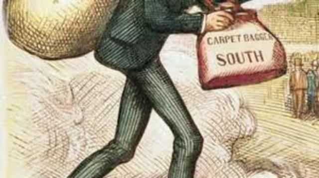 arrival of scalawags and carpetbaggers in the south