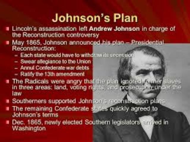 Johnson Announced Plans for Presidential Reconstruction