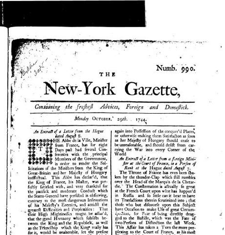 The New York Gazette was issued