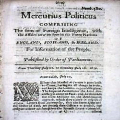 Invención del primer periódico impreso