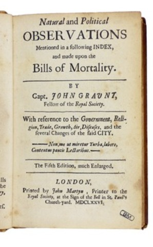 """""""Natural and political observation upon the bills of mortality"""" John Graunt"""