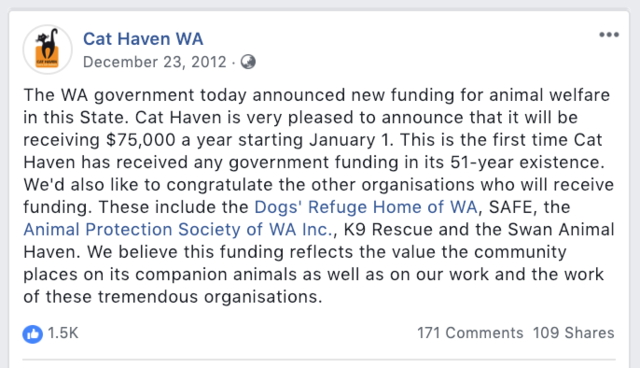 $300,000 grant to Cat Haven