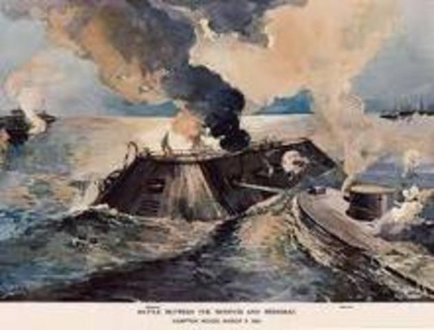 Battle Between the Merrimadk & the Monitor