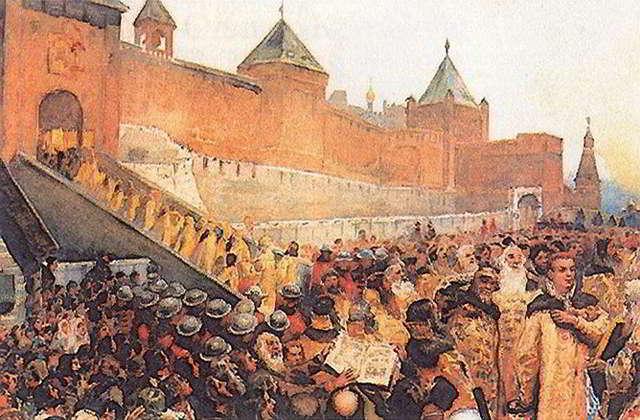 Григорий Отрепьев торжественно вступил в Москву.