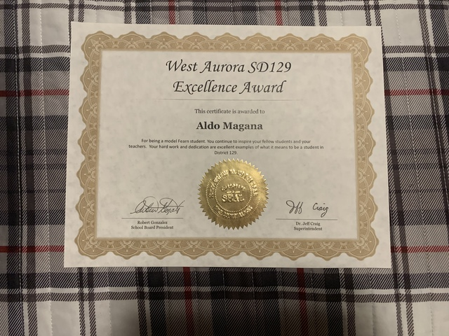 I was granted the WASD 129 Excellence Award