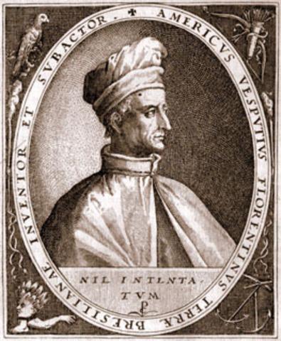 Italian explorer Amerigo Vespucci explores northeast South America