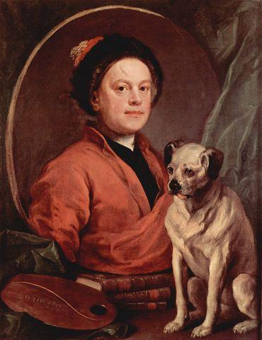 Autoportrait au carlin - William HOGARTH