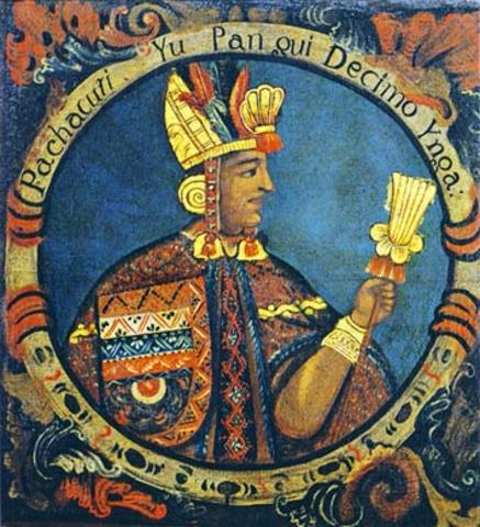 Pachacuti becomes ruler of Cuzco kingdom; beginning of the Inca empire