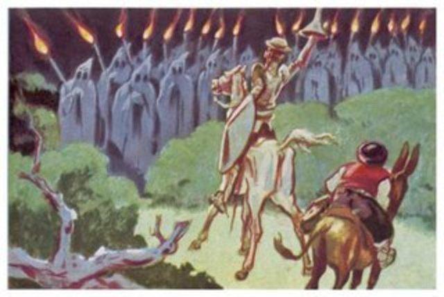 Sancho llama a Don Quijote 'Caballero de la Triste Figura' por arremeter contra unos sacerdotes que transportaban a un  muerto.