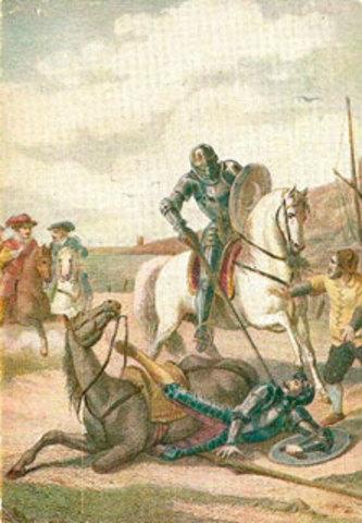 Don Quijote y Sancho se encuentran con el Caballero de los Espejos y su escudero.