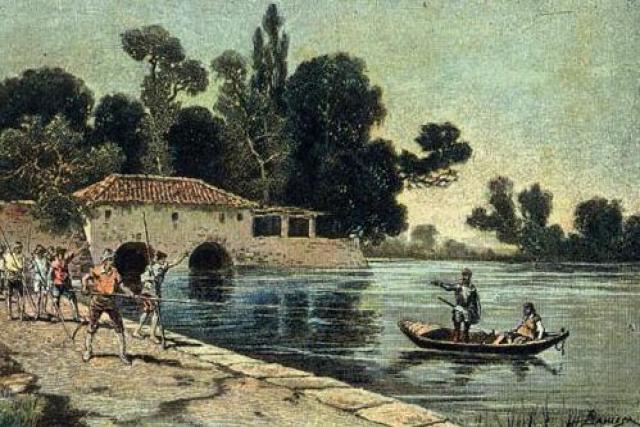 El duque y la duquesa de la ribera del Ebro reciben a Sancho y a Don Quijote en su palacio