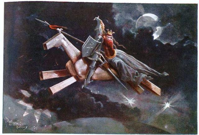 Viajan Don Quijote y Sancho a Candaya.