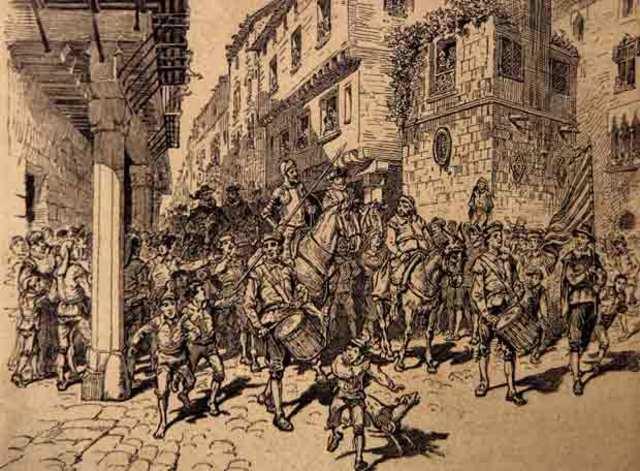 Durante su trayecto a Barcelona  se encuentran a una cuadrilla de bandoleros liderados por Roque Guinart.