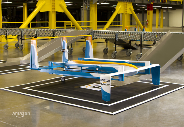 Amazon drone delivers cargo during a test