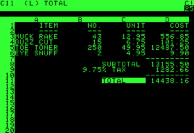 VisiCalc ( Visible Calculator)