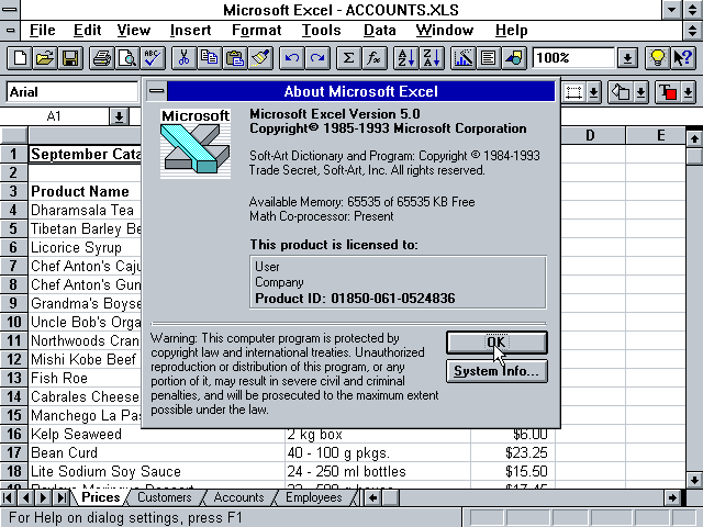 Microsoft Excel 10.0 Office XP