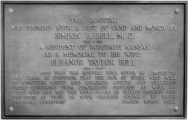 The plaque at Bell Memorial